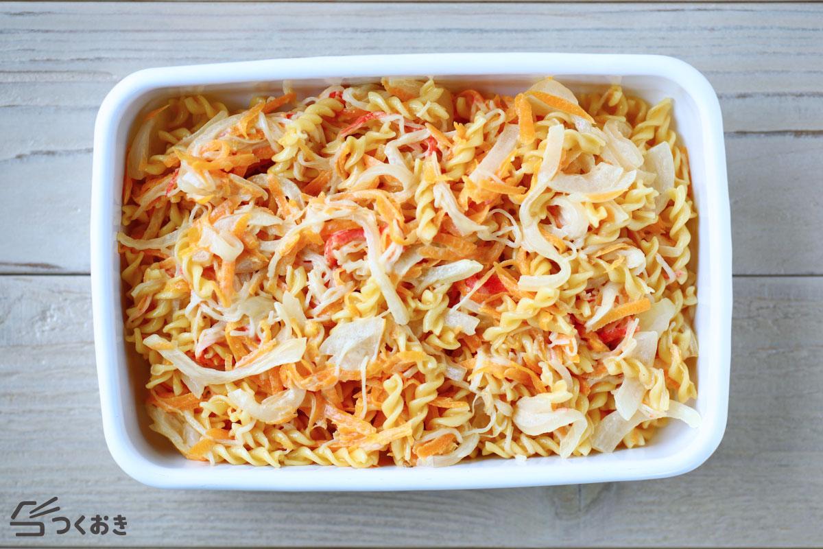 カニカマのマカロニサラダの冷蔵保存写真