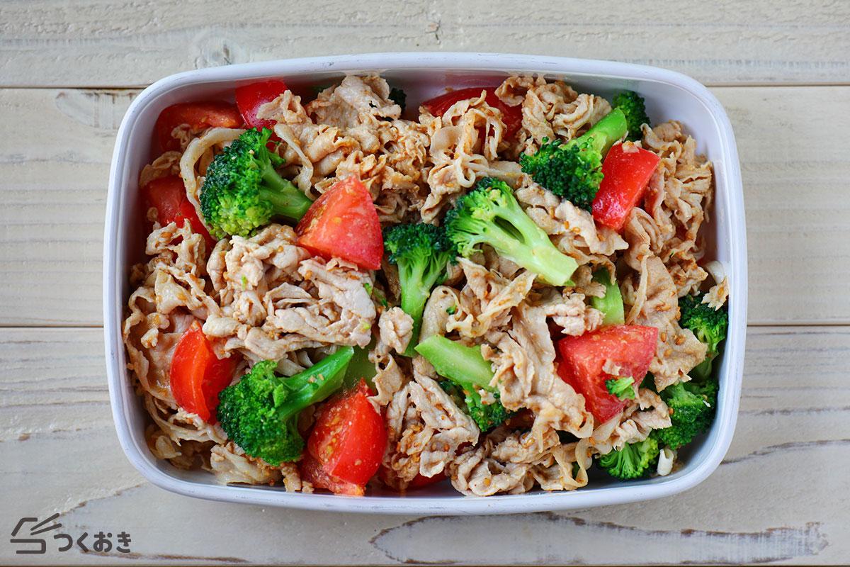 トマトとブロッコリーの豚しゃぶサラダの冷蔵保存写真