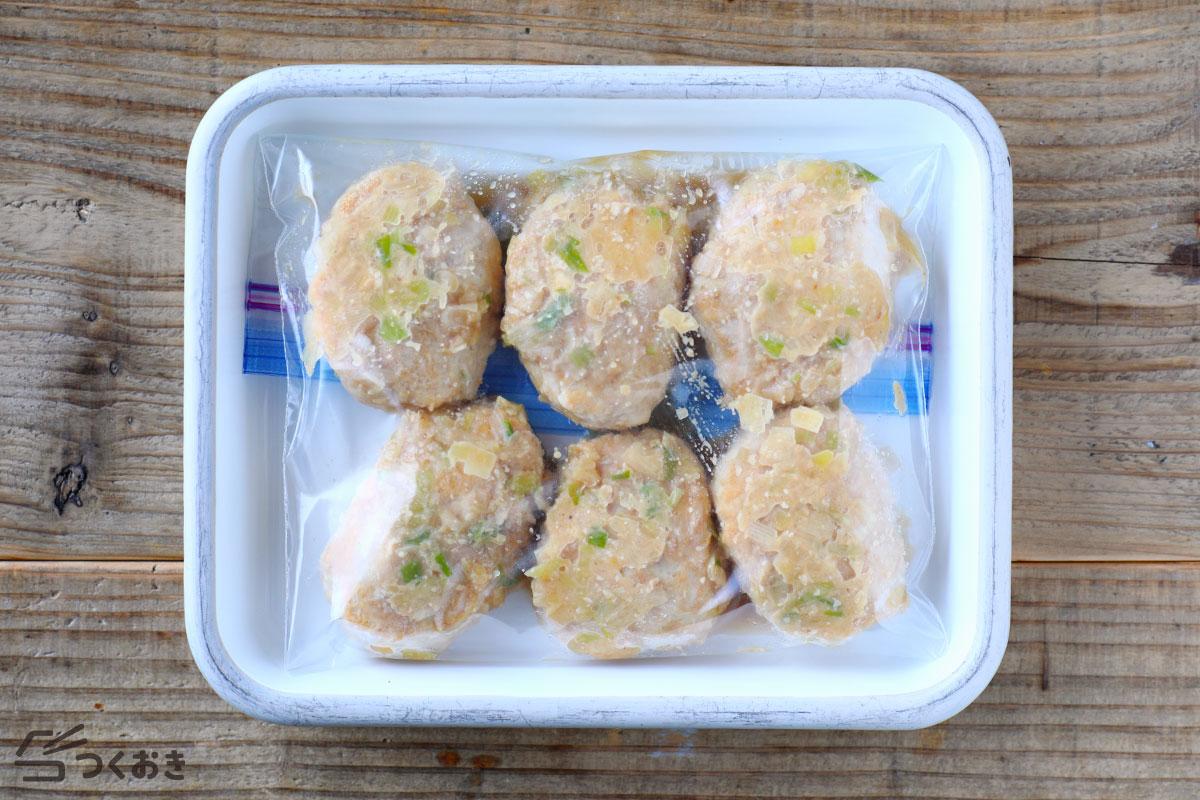 ねぎみそだれの鶏つくねの冷凍保存写真