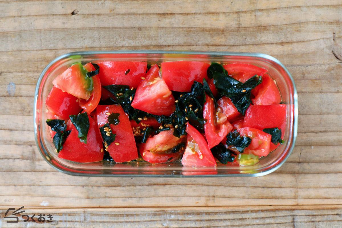 わかめとトマトのごまサラダの冷蔵保存写真